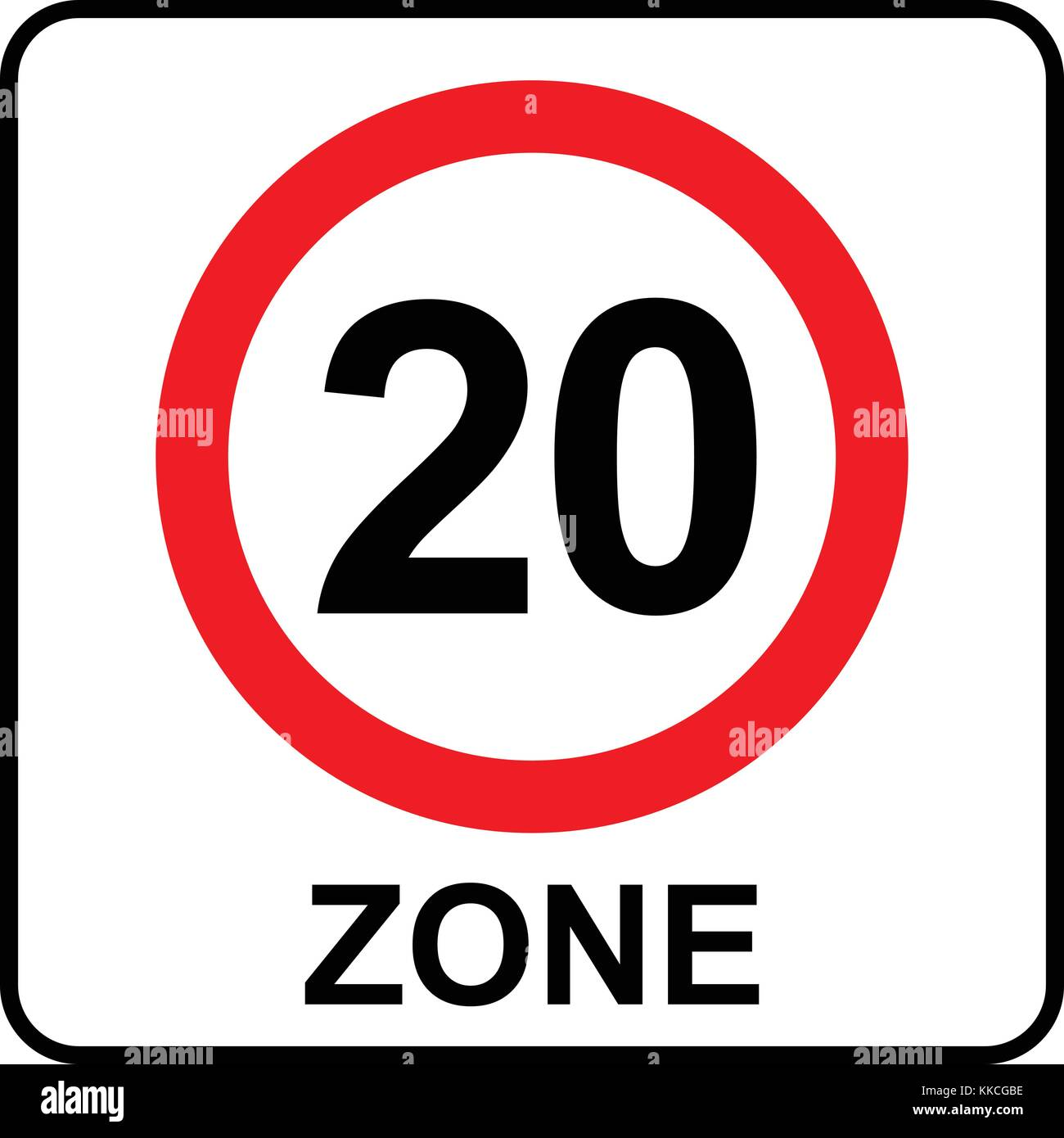 Speed limit zone 20 sign, vector illustration. - Stock Vector