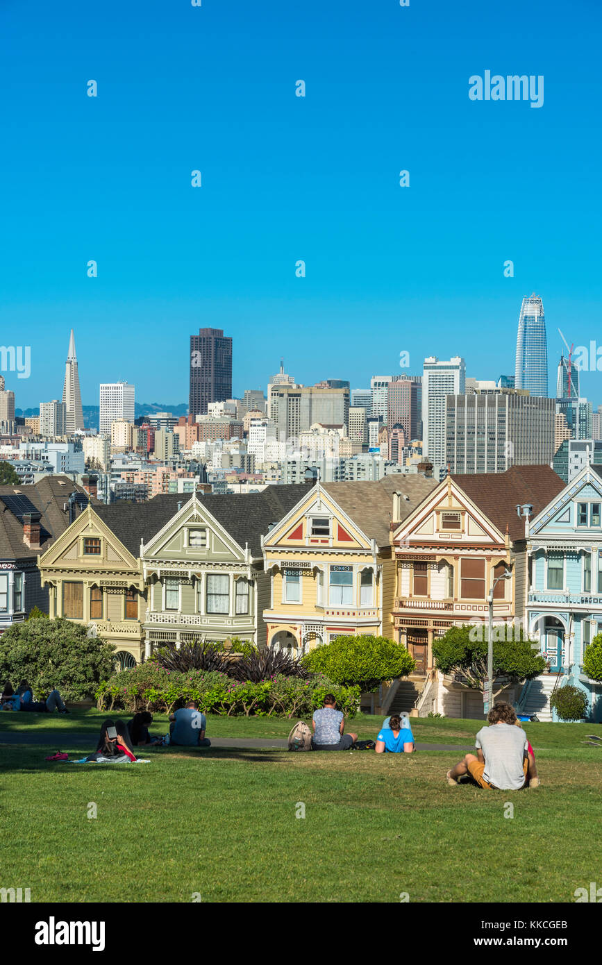 Alamo Square with the famous Painted Ladies Victorian houses, San Francisco, California, USA - Stock Image