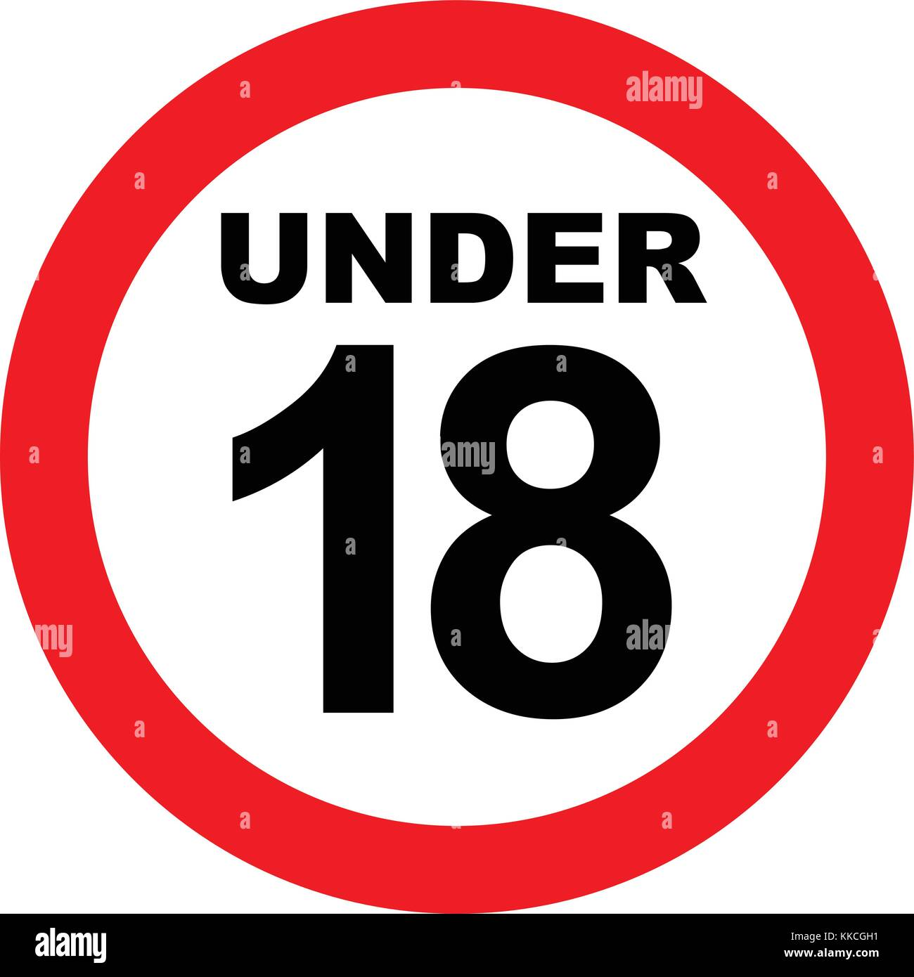 Under eighteen years prohibition sign, adults only, vector illustration. - Stock Vector
