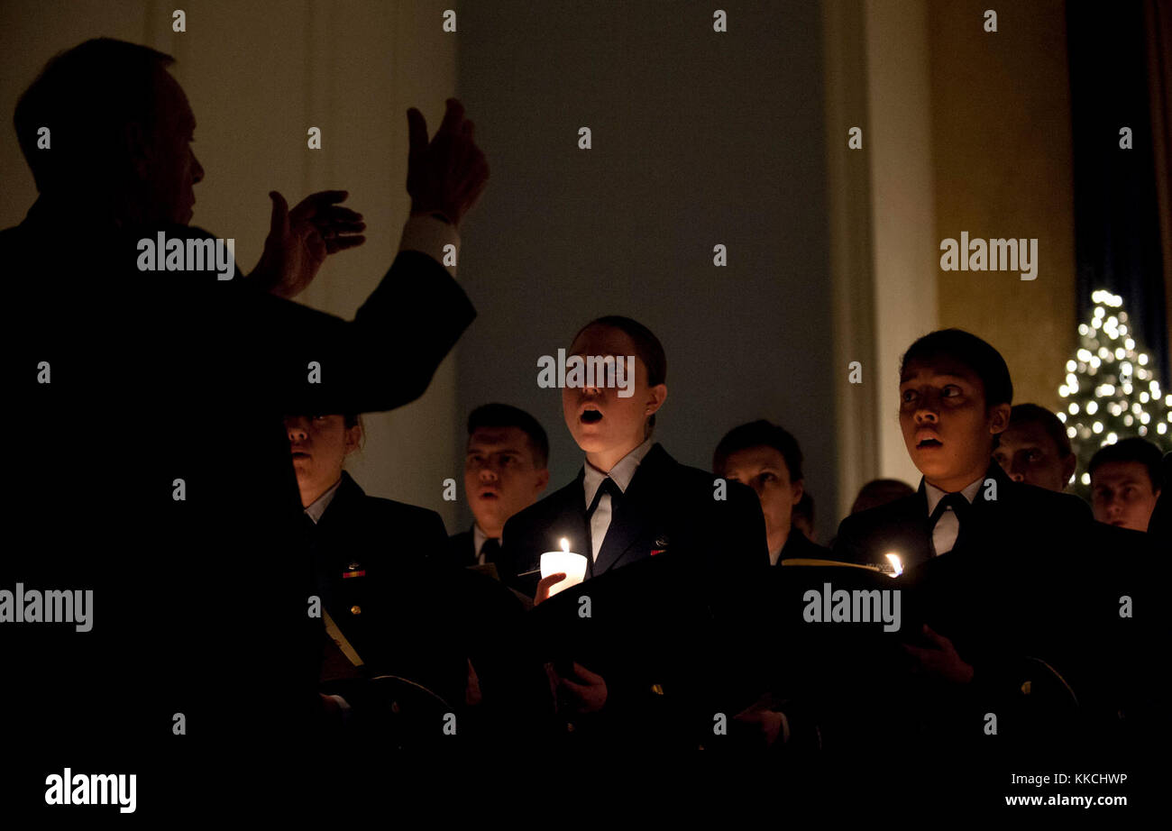 NEW LONDON, Conn. -- The Cadet Handbell Choir performs at the U.S. Coast Guard Academy's Annual Christmas Service - Stock Image