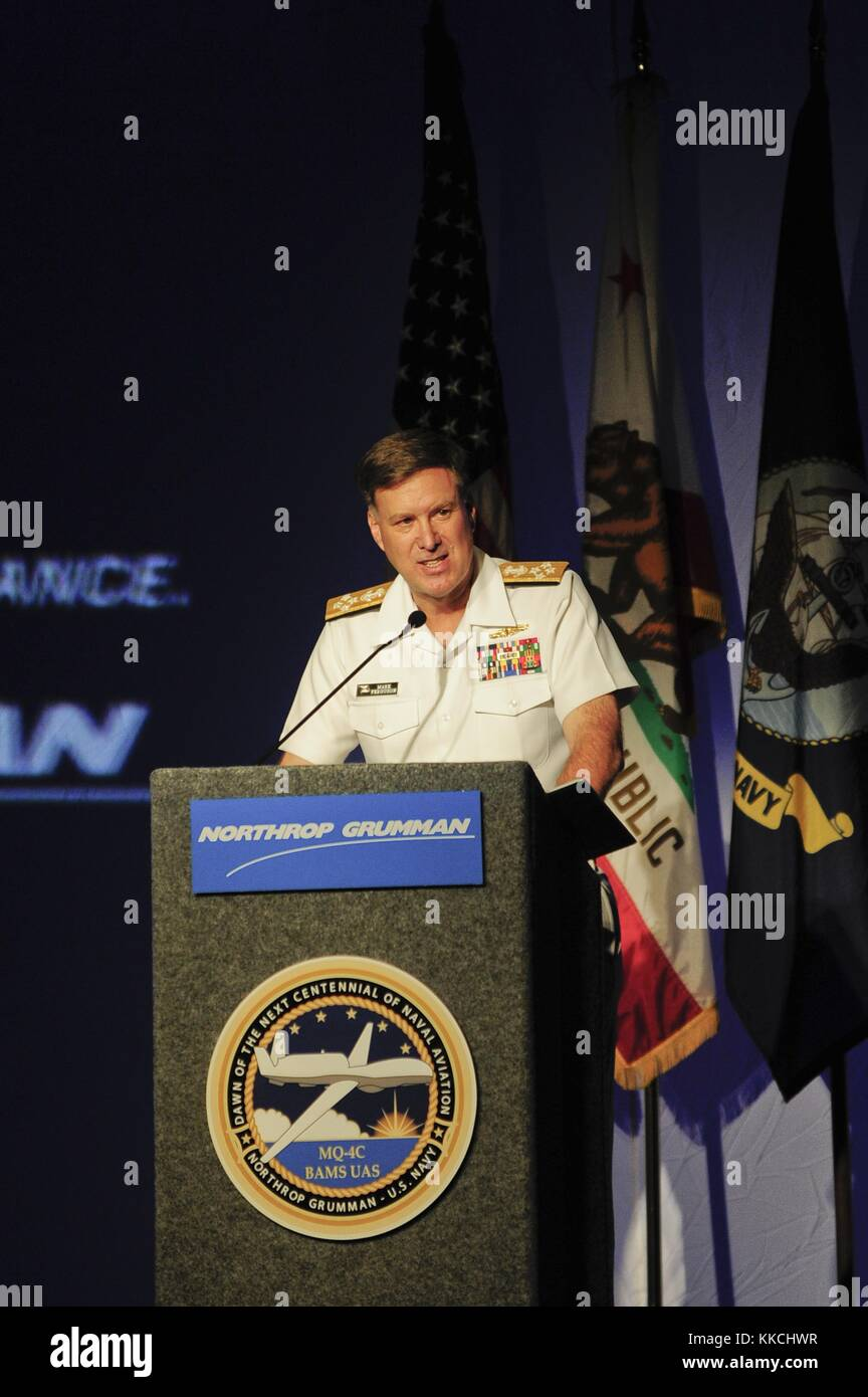Admiral Mark Ferguson, Vice Chief of Naval Operations VCNO, delivers remarks at the unveiling of the US Navy MQ - Stock Image