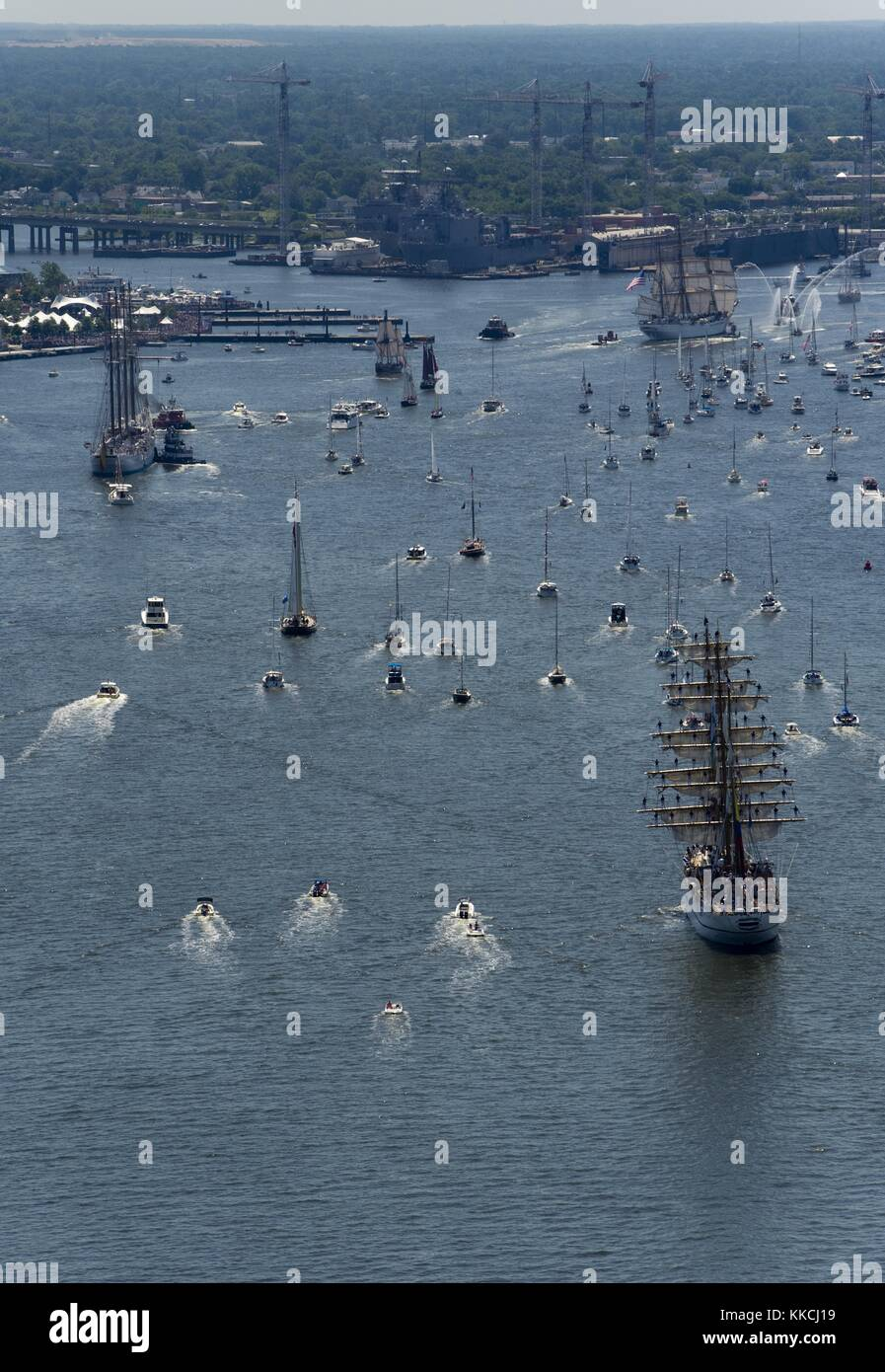 Ships participating in Operation Sail OpSail 2012 Virginia, sail towards the downtown Norfolk waterfront, Norfolk, - Stock Image