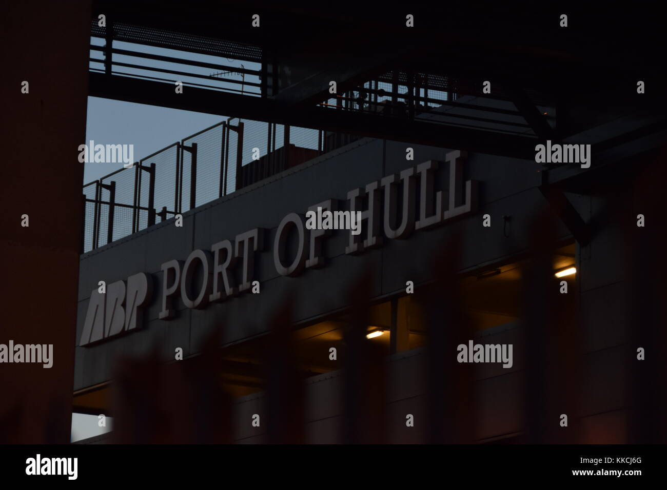 ABP Port of Hull sign on P&O Ferries terminal building, Kingston upon Hull, East Yorkshire, UK - Stock Image