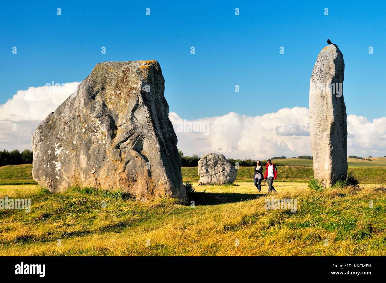 Avebury Neolithic henge and stone circles, Wiltshire, England. 5600 years old. Megaliths of the inner North Circle - Stock Image