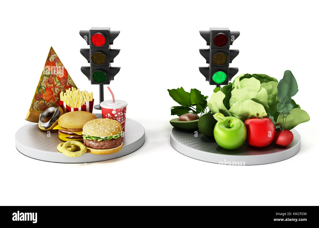 Green light for healthy food and red light for junk food. 3D illustration. - Stock Image