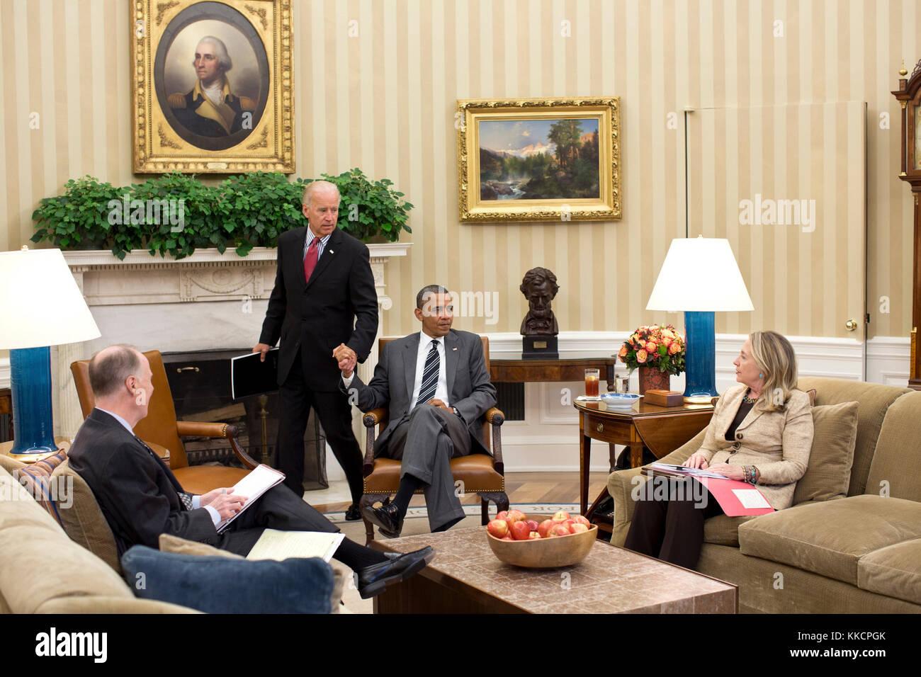 Vice President Joe Biden arrives for a meeting with President Barack Obama, Secretary of State Hillary Rodham Clinton, - Stock Image