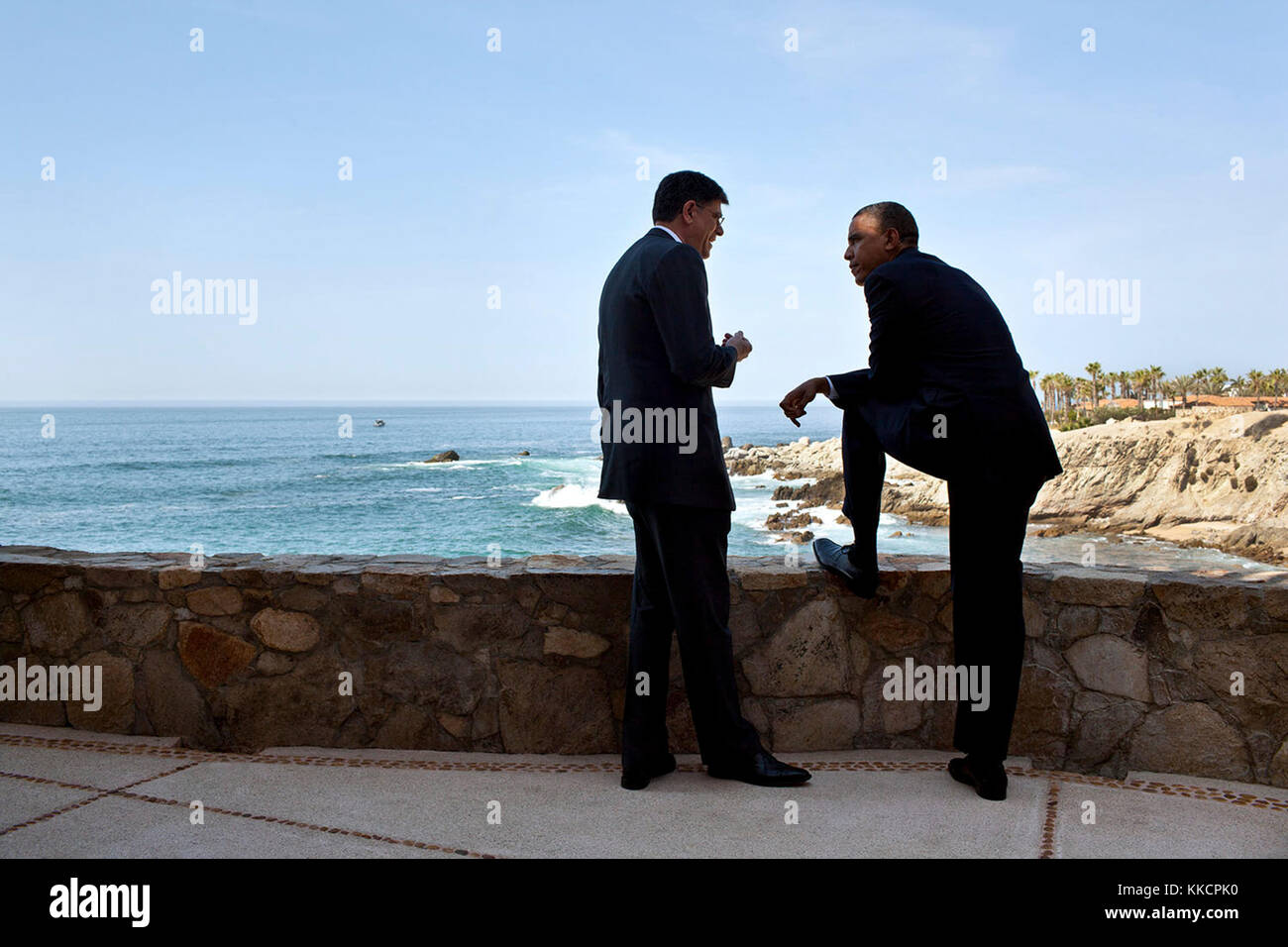 """June 18, 2012 """"We were in Mexico for tk summit. While the President was waiting for Russian President Vladimir Putin Stock Photo"""