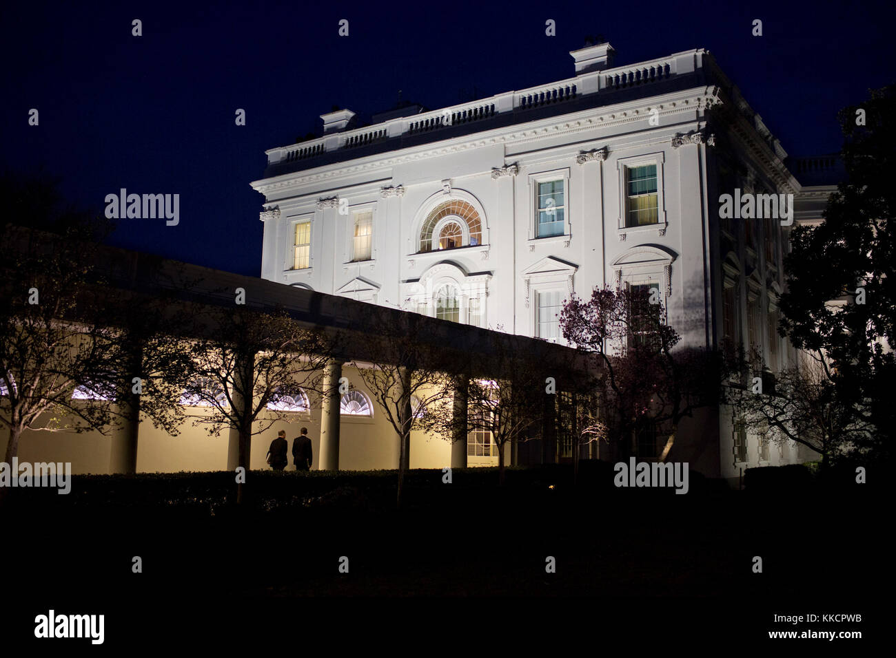 President Barack Obama and National Security Advisor Tom Donilon walk along the Colonnade of the White House, March - Stock Image