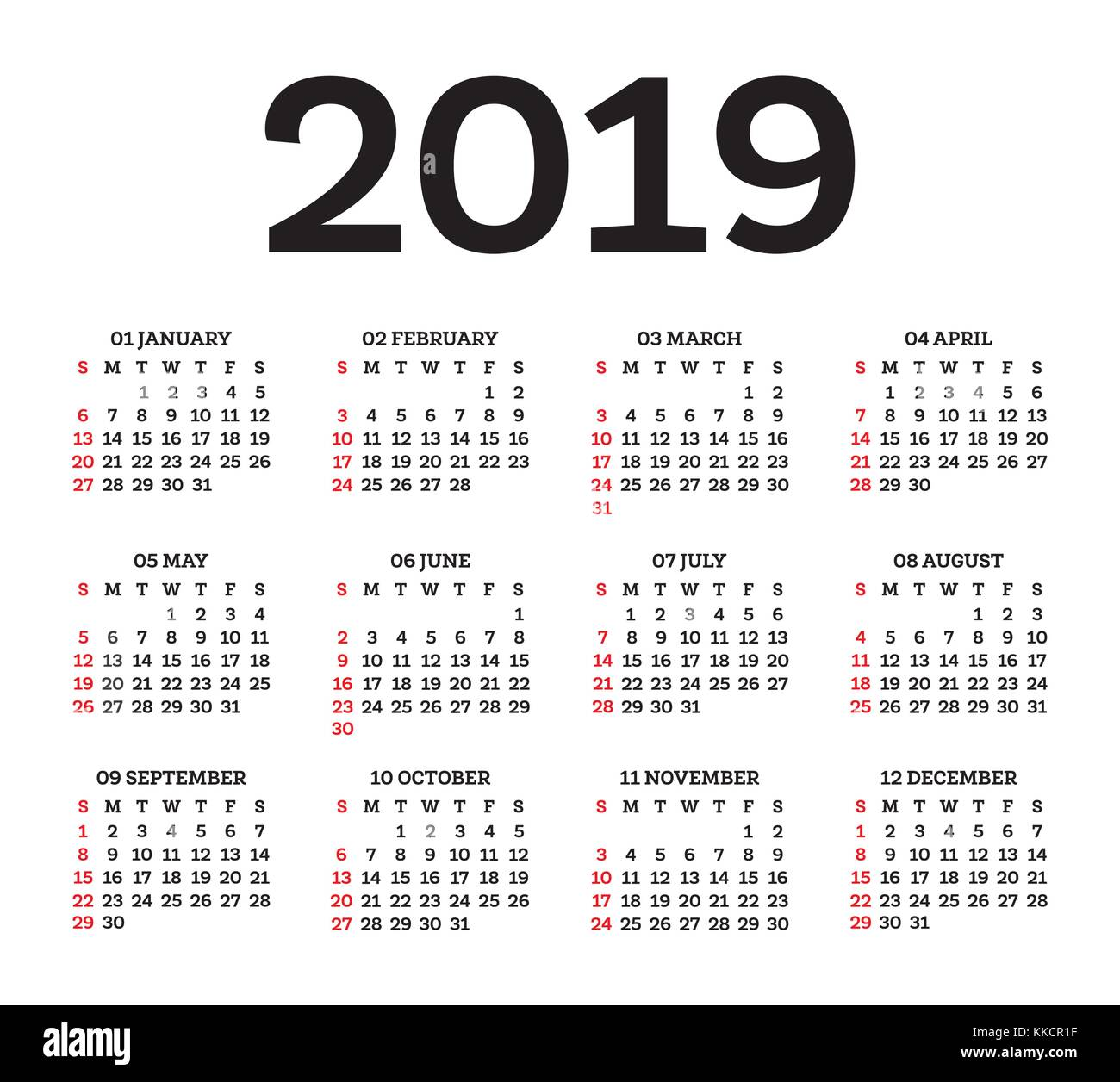 Calendario 2106.Simple 2019 Year Calendar Week Stock Photos Simple 2019