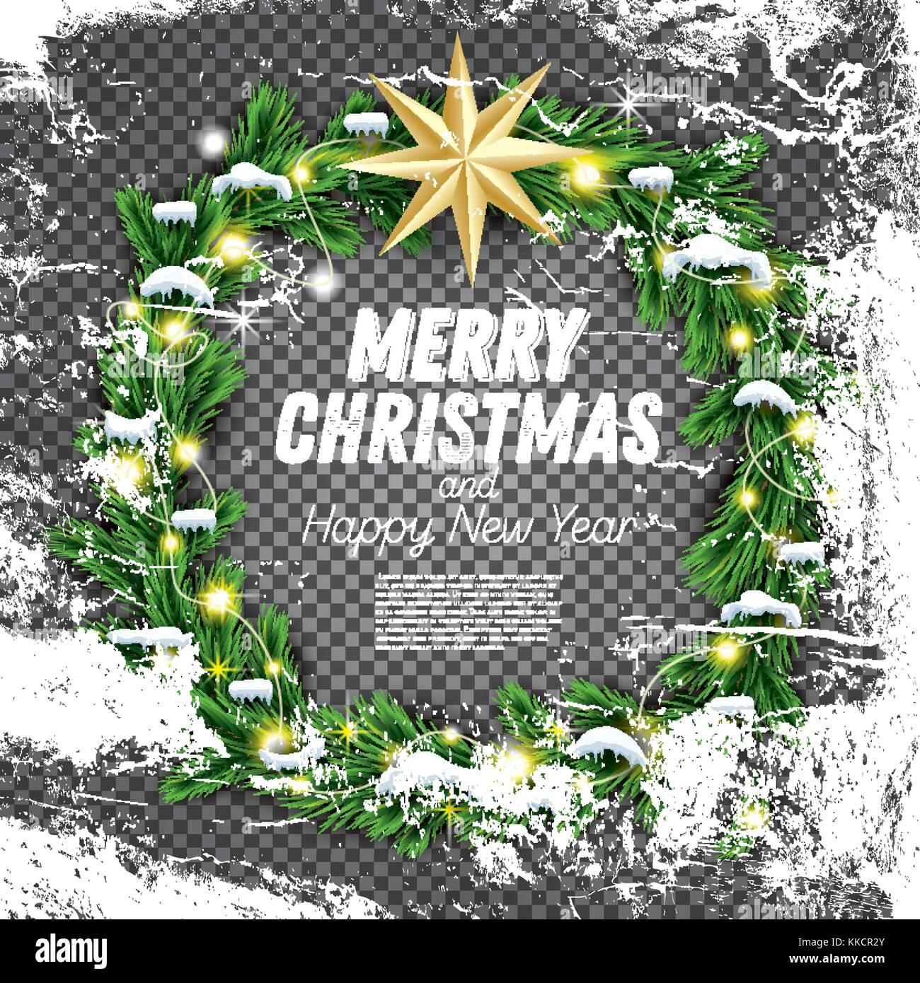 Christmas Wreath With Green Fir Branch Light Garland And Golden