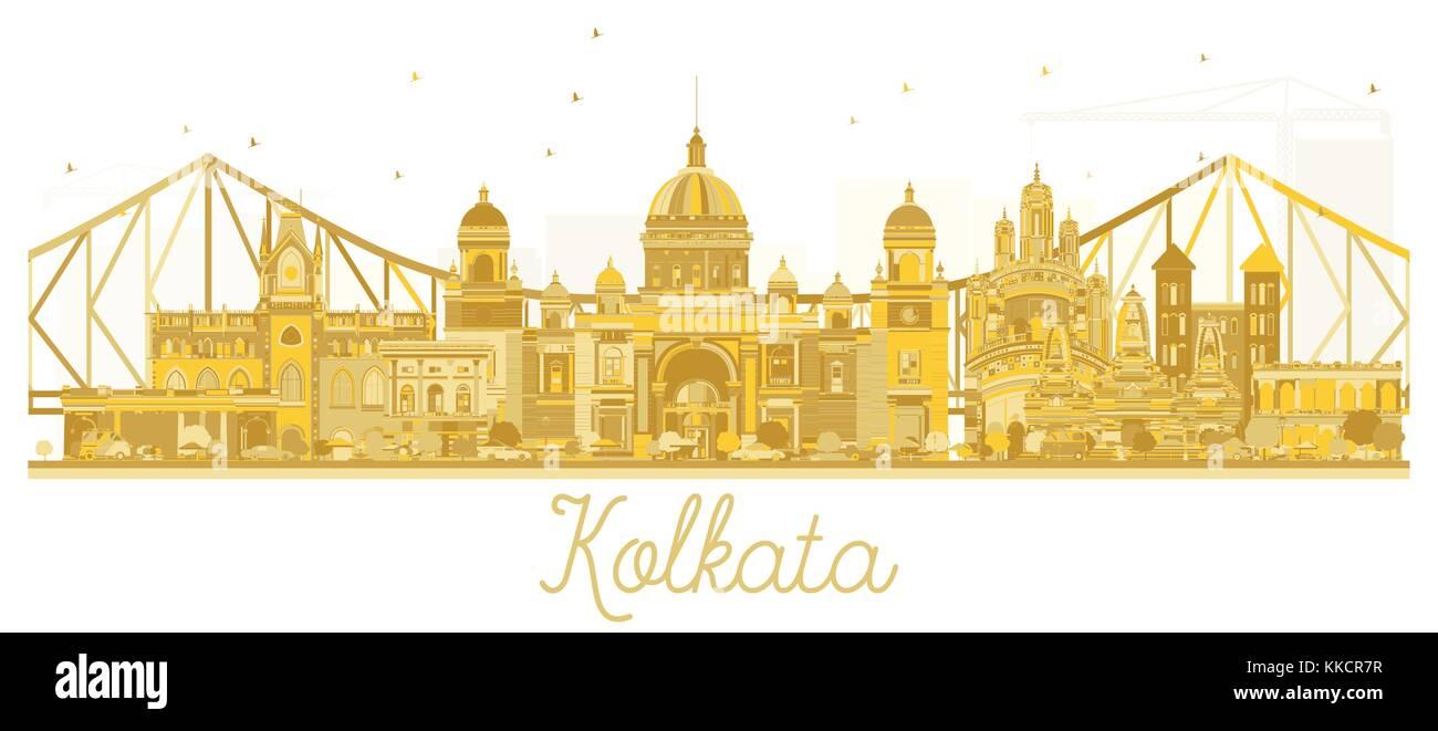 Kolkata India City skyline golden silhouette. Vector illustration. Business travel concept. Kolkata Cityscape with - Stock Vector