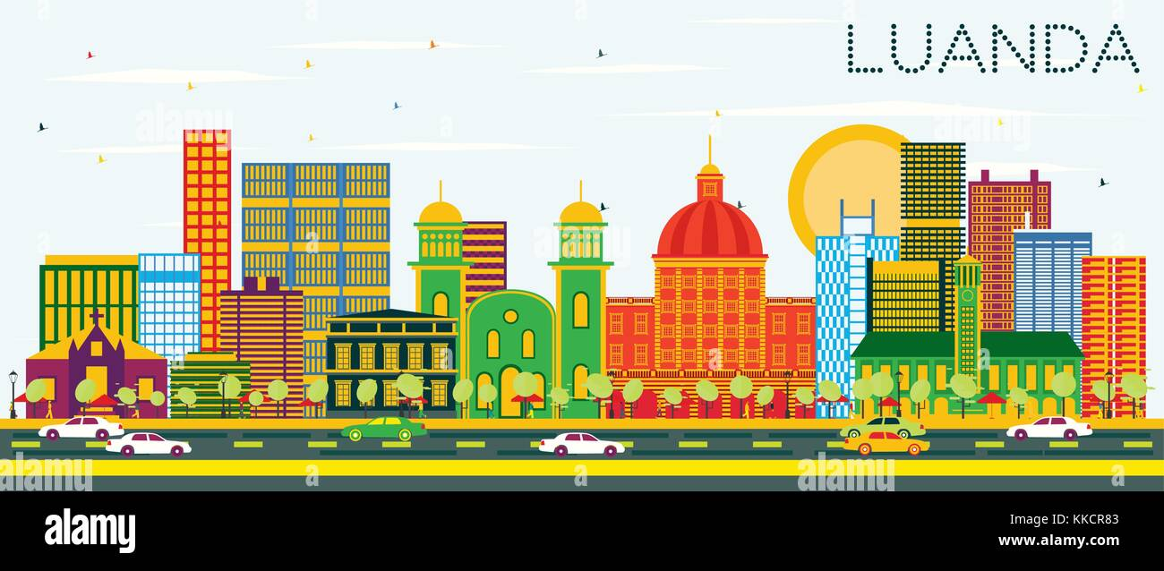 Luanda Angola Skyline with Color Buildings and Blue Sky. Vector Illustration. Business Travel and Tourism Concept - Stock Vector