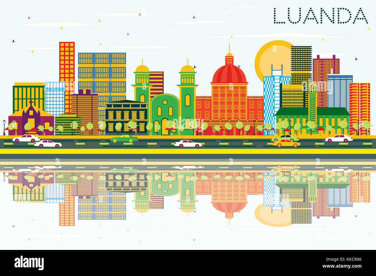 Luanda Angola Skyline with Color Buildings, Blue Sky and Reflections. Vector Illustration. Business Travel and Tourism - Stock Vector