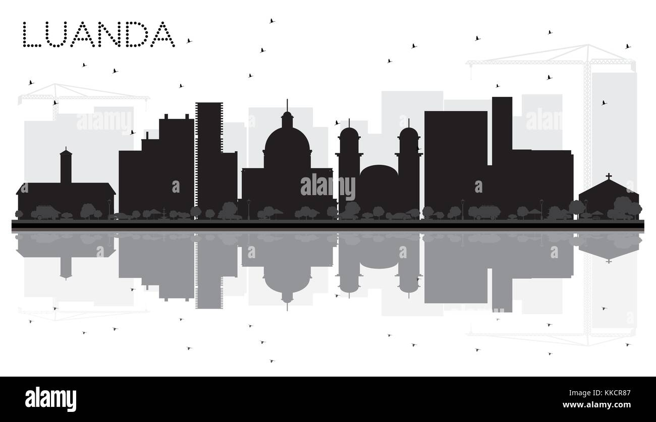 Luanda Angola City skyline black and white silhouette with Reflections. Vector illustration. Business travel concept. - Stock Vector