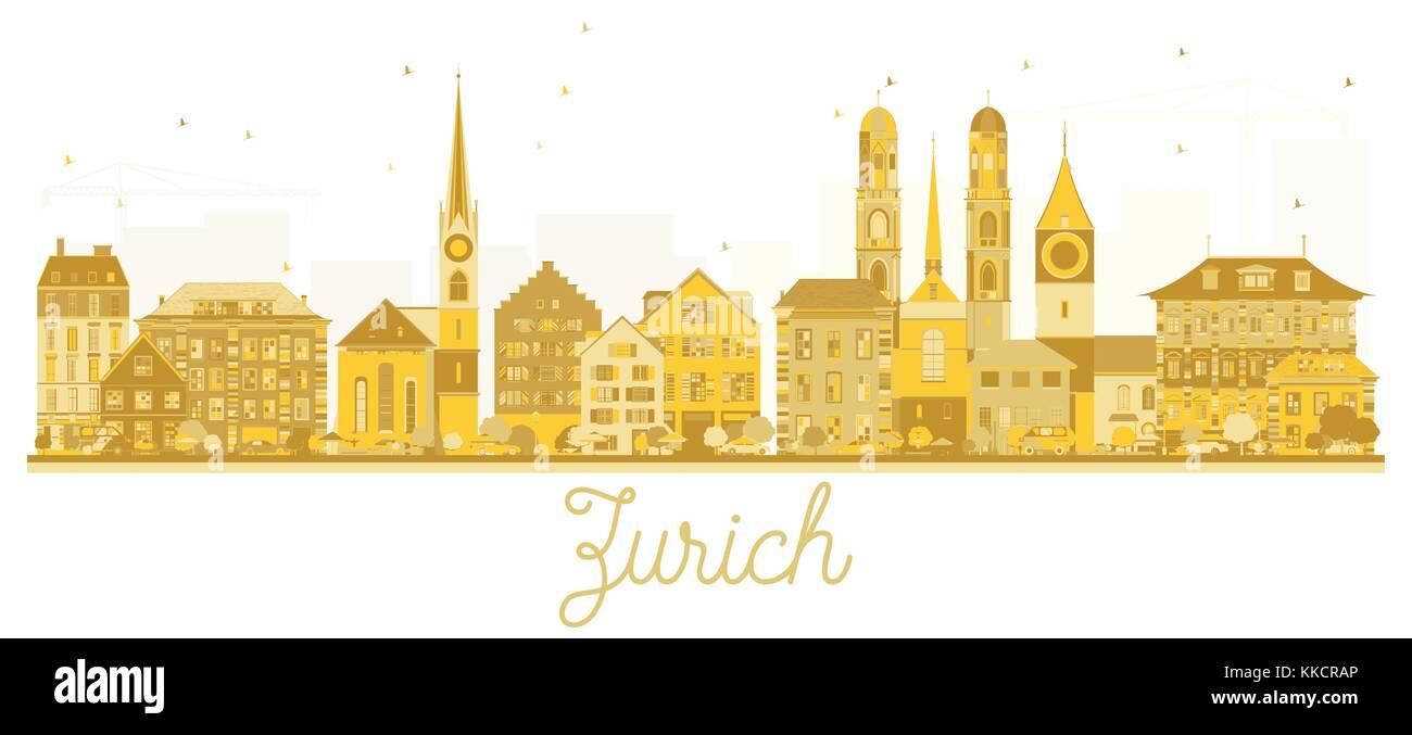 Zurich Switzerland City skyline golden silhouette. Vector illustration. Business travel concept. Zurich Cityscape - Stock Image