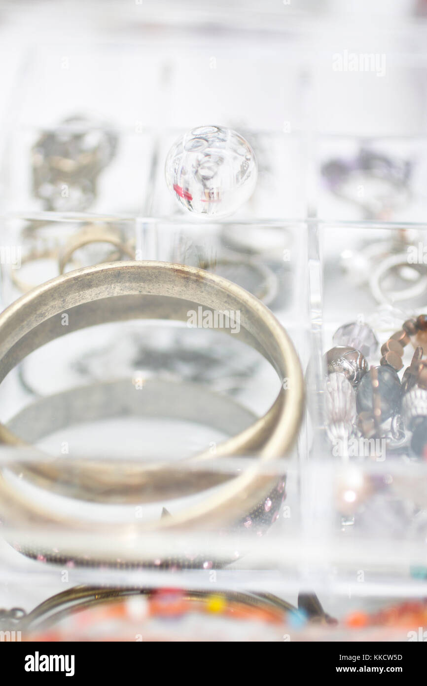 Acrylic clear box for jewels. DOF - Stock Image