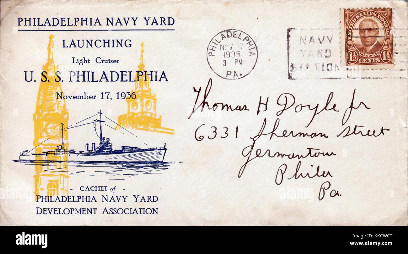 Launching of the USS Philadelphia (CL-41) Cover November 17, 1936 Stock Photo