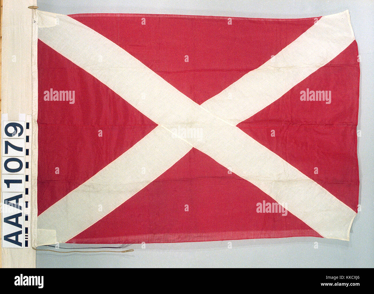 The house flag of Edgar Lowden & Co, Liverpool.  The flag is made of wool bunting, machine sewn with a linen - Stock Image