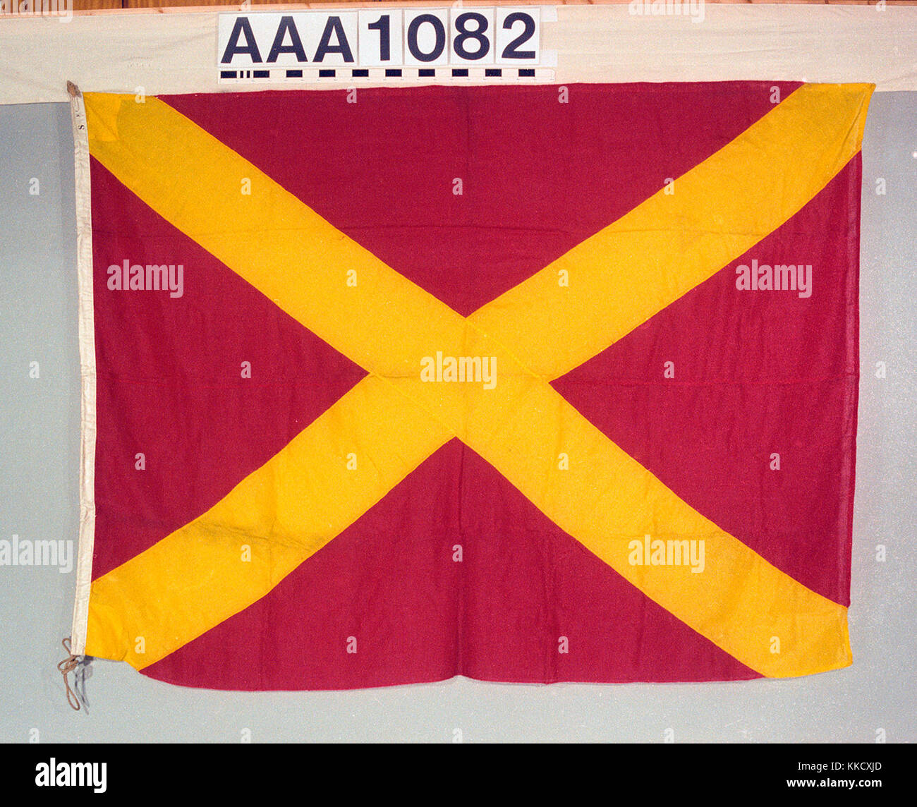 The house flag of MacDonald Adams and Co.  The flag is made of wool bunting, machine sewn with a linen hoist.  A - Stock Image