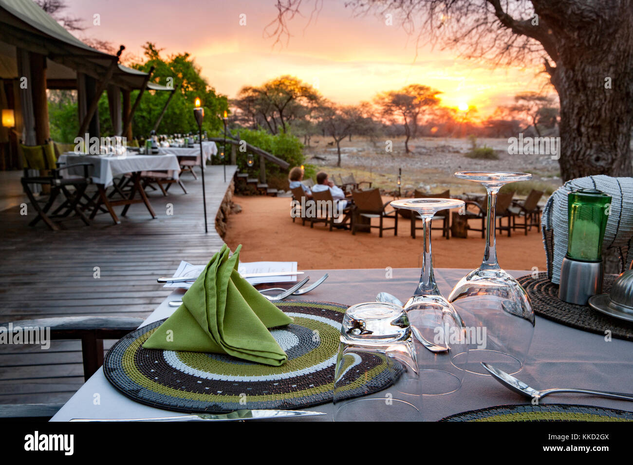 Outdoor Dining at Onguma Tented Camp, Onguma Game Reserve, Namibia, Africa - Stock Image