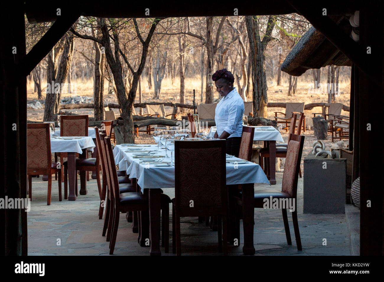 Outdoor dining at Etosha Aoba Lodge, Onguma Game Reserve, Namibia, Africa - Stock Image