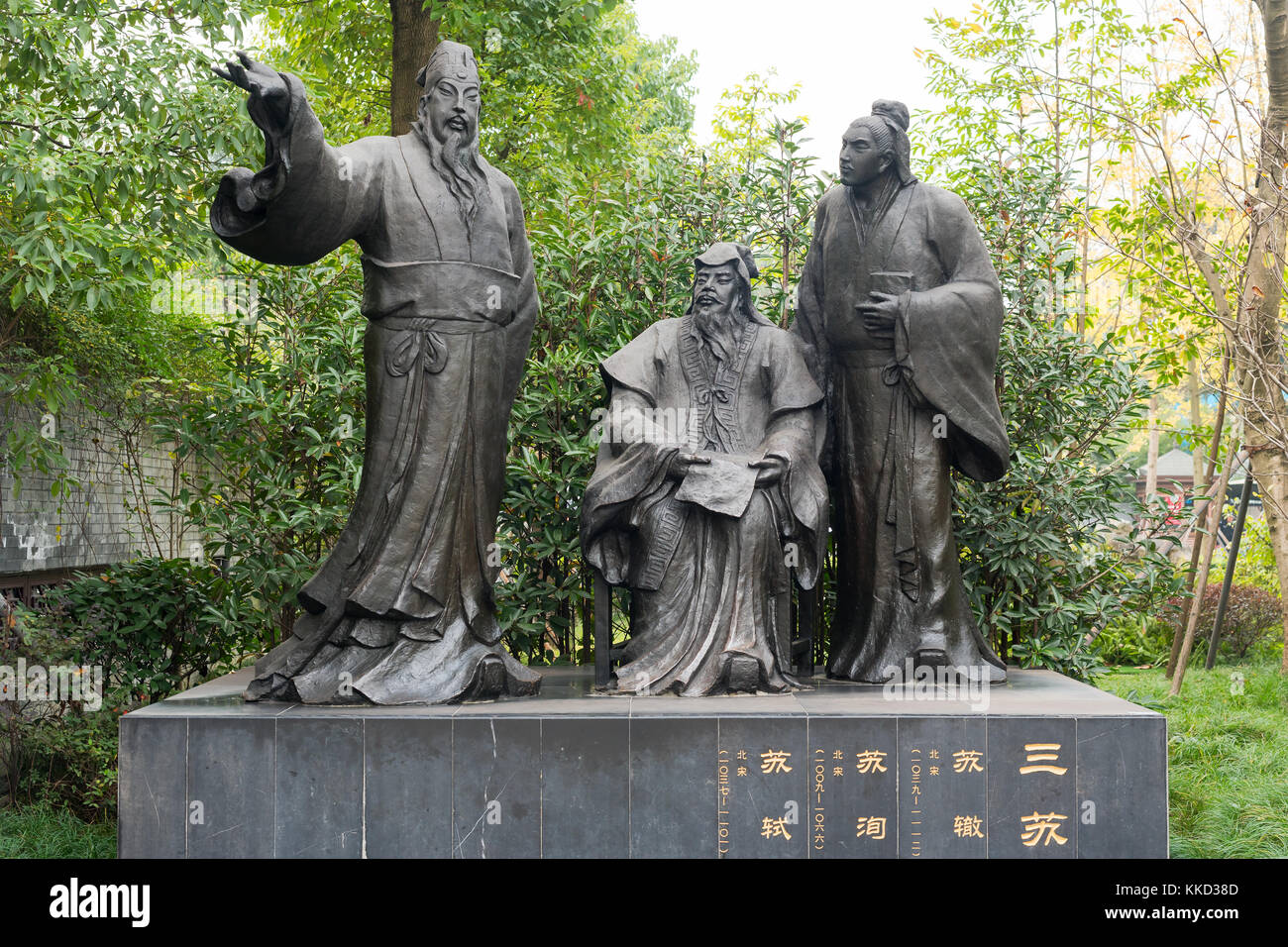 SuChe SuXun SuShi chinese poets statues - Stock Image