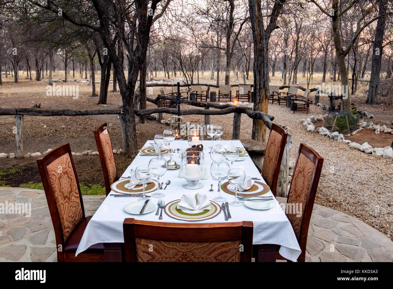 Outdoor dining at Etosha Aoba Lodge, Onguma Game Reserve, Namibia, Africa - Stock Image