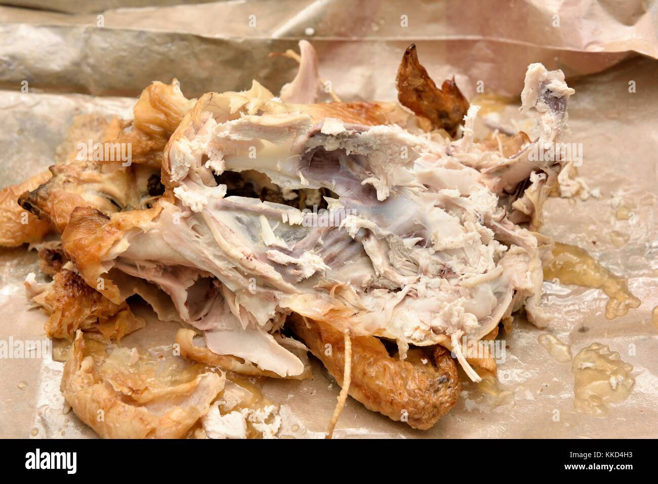 Roast chicken carcass remains - Stock Image