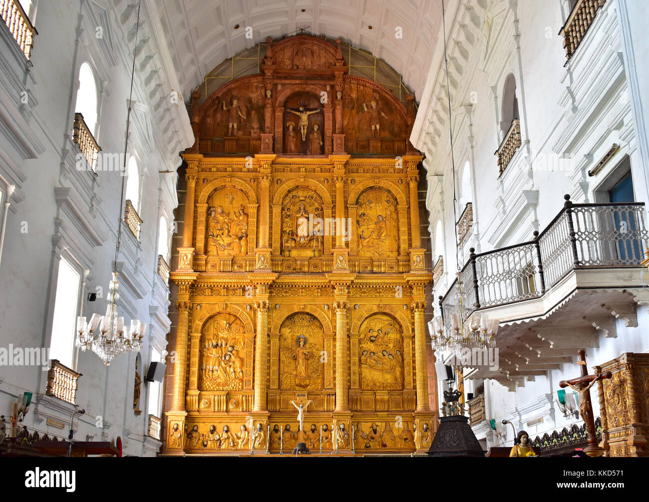 Interior view of Se Cathedral or Cathedral of St. Catherine of Alexandria, Old Goa, India. Stock Photo
