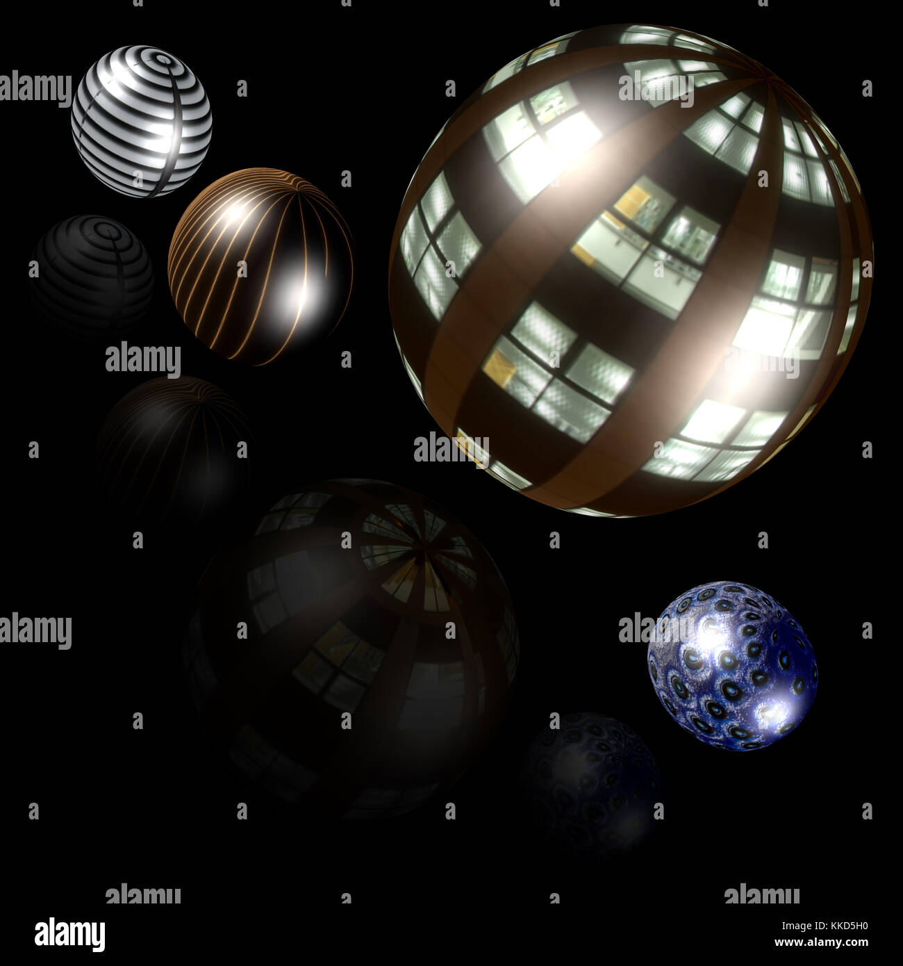 Parallel planets - Windows opening ! - Stock Image