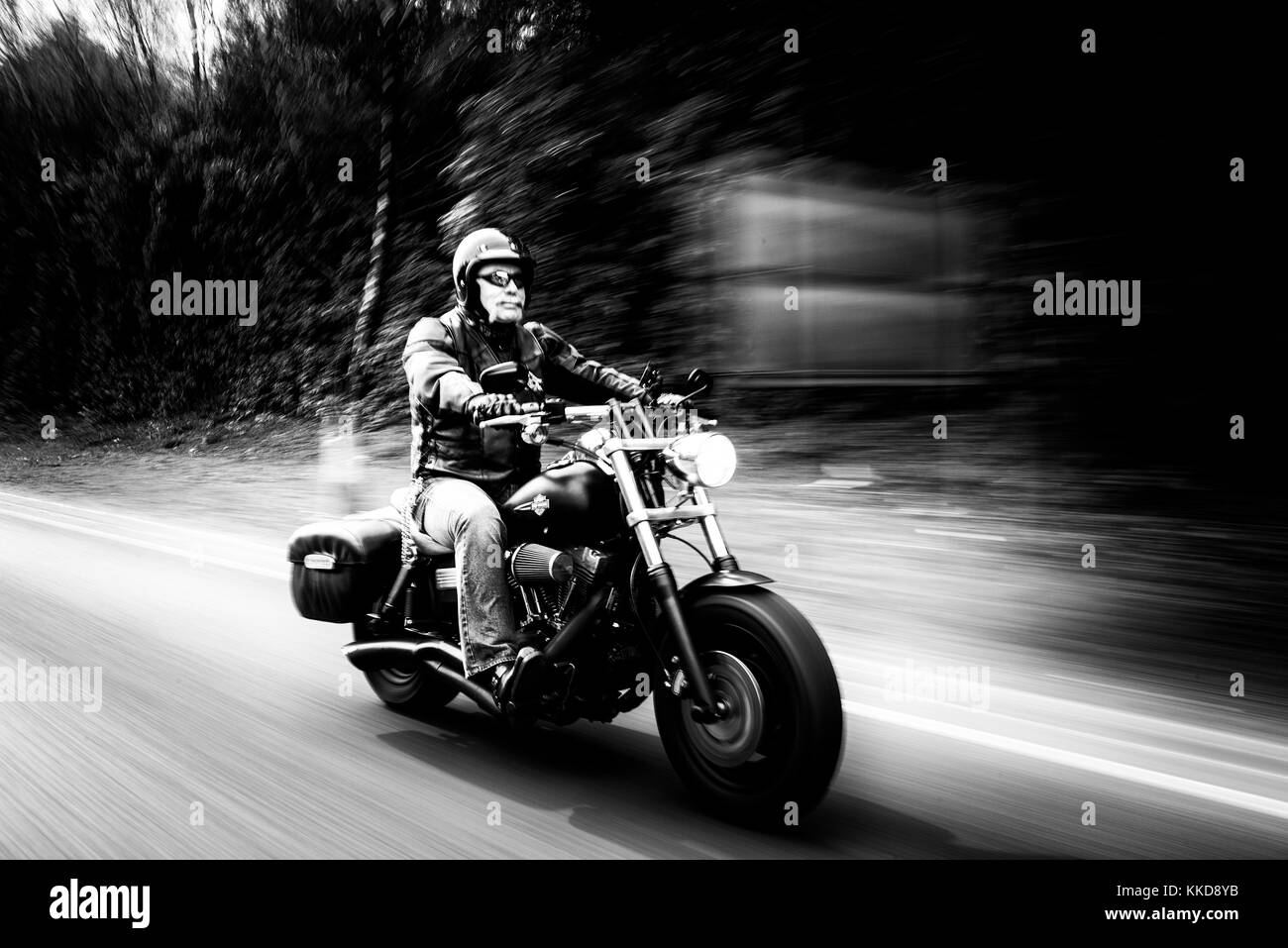 Man with a handlebar moustache riding a Harley Davidson motorcycle with motion blur - Stock Image