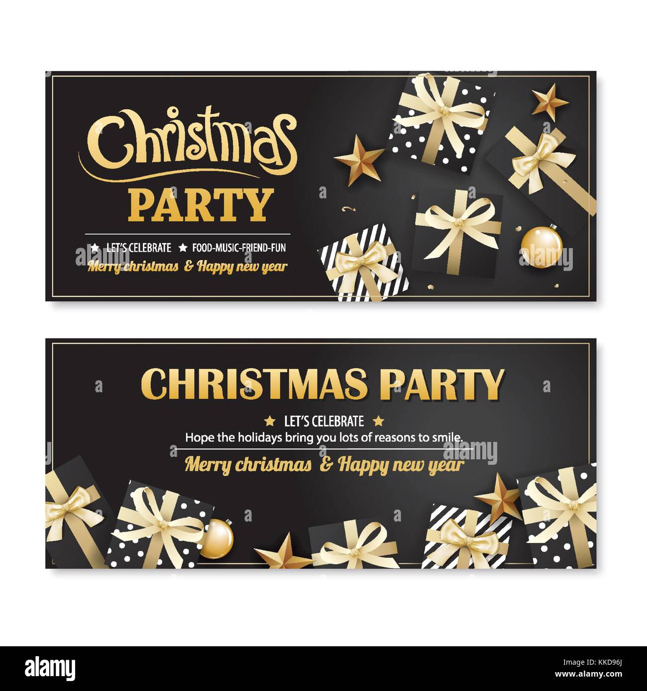 invitation merry christmas party poster banner and card design template on black background happy holiday and new year with gift boxes theme concept