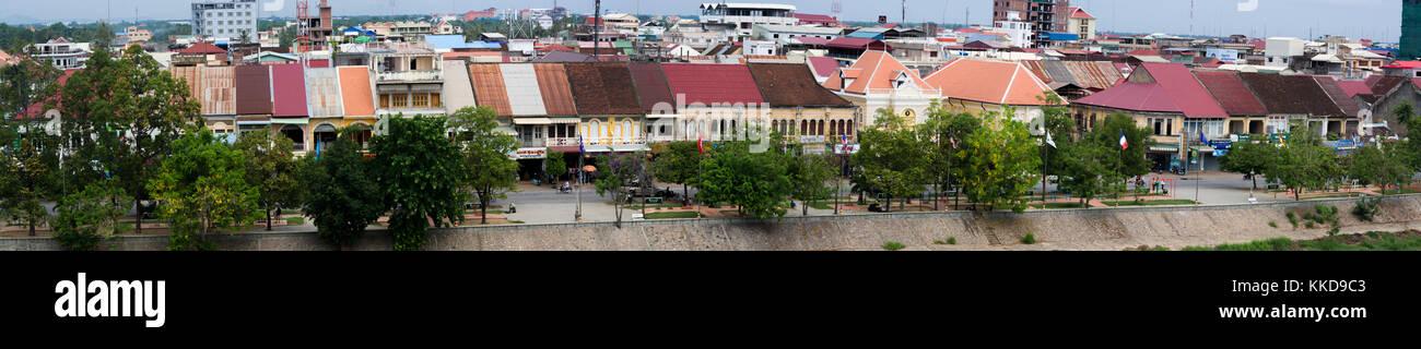 Panorama of Battambang Chinese shophouses - Stock Image