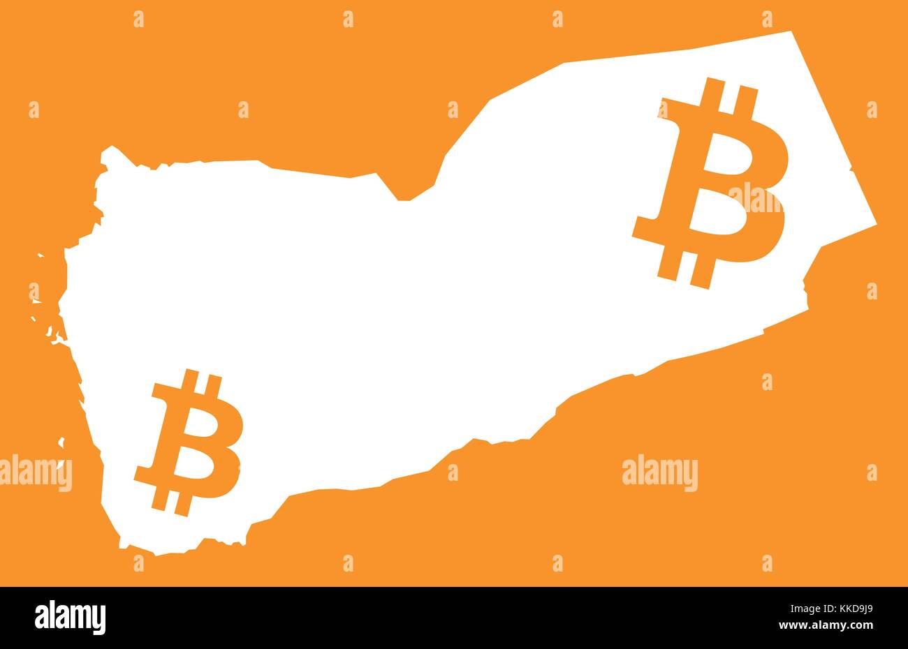 Yemen map with bitcoin crypto currency symbol illustration - Stock Vector