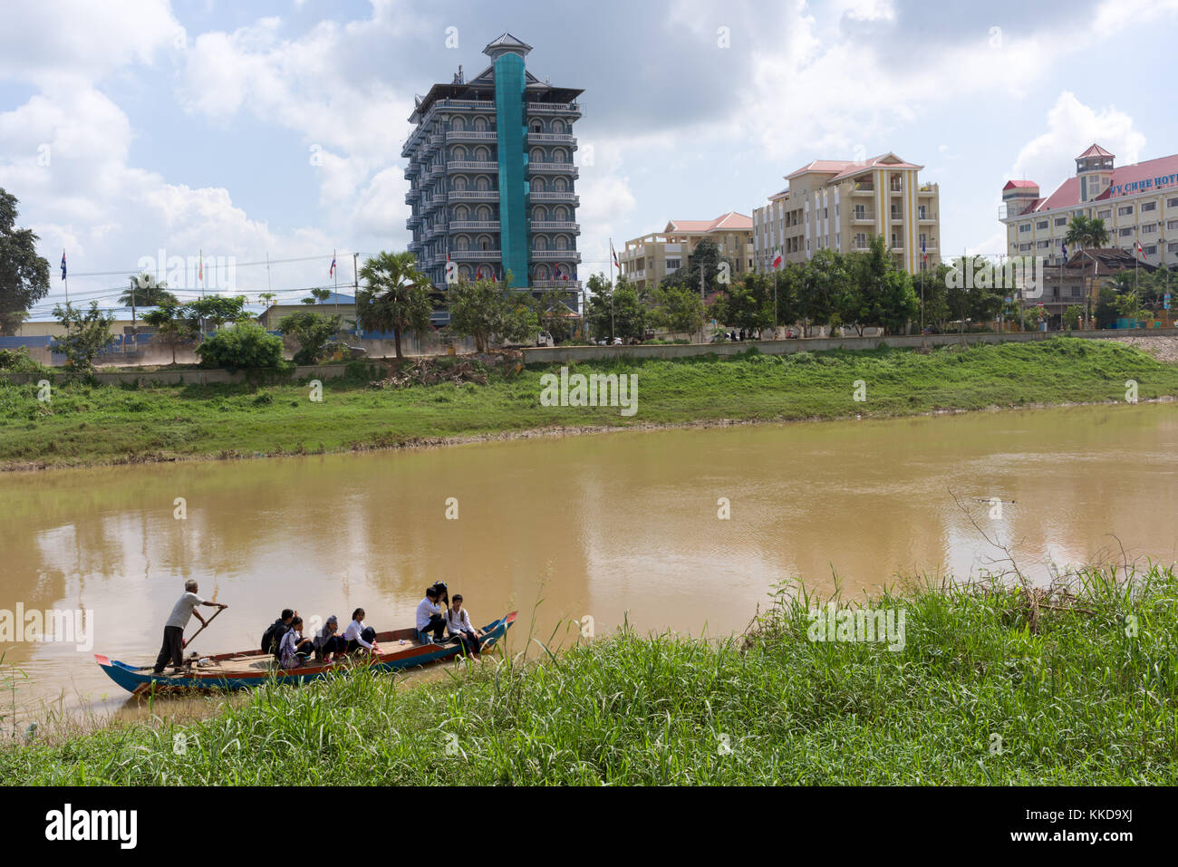 Stung Sangke River in Battambang city - Stock Image