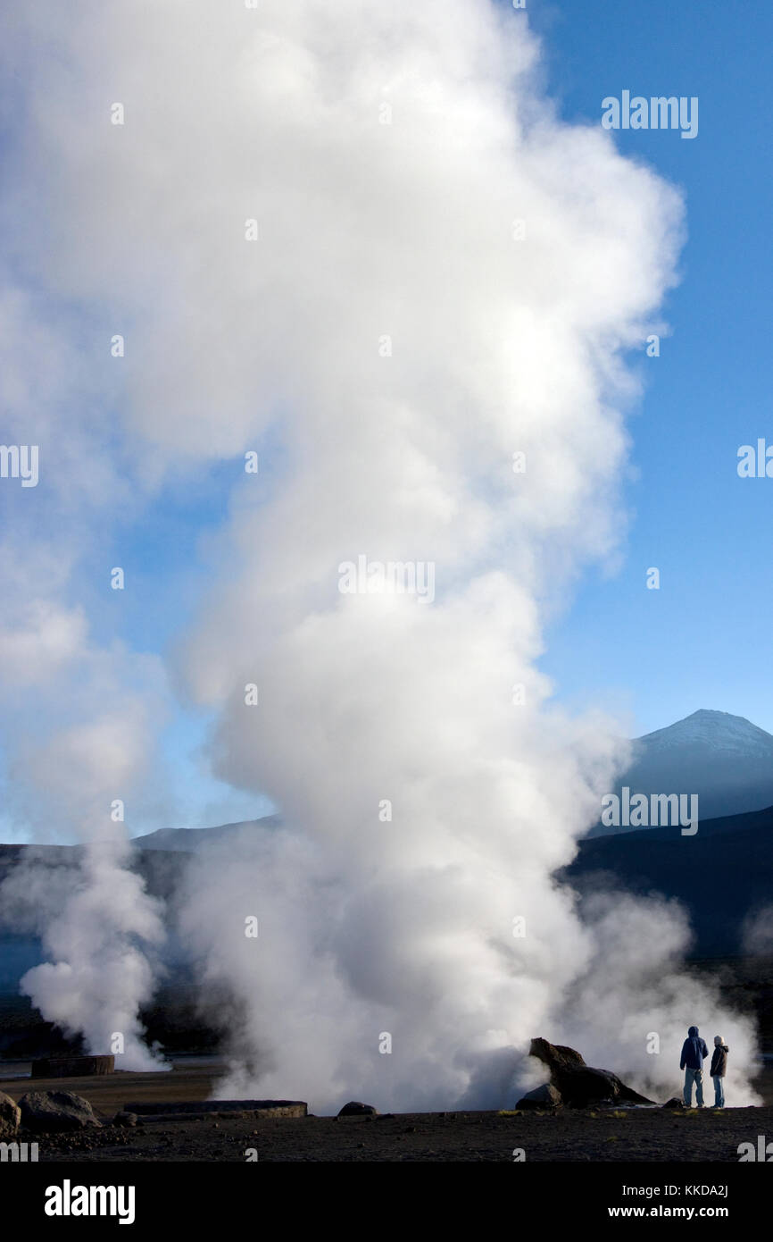 Dawn at the geysers and geo-thermal steam vents of the El Tatio Geyser Field at 4500m (14764ft) in the Atacama Desert - Stock Image