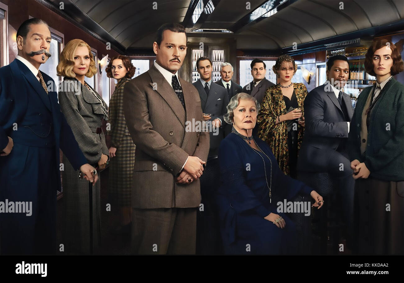 MURDER ON THE ORIENT EXPRESS 2017 Twentieth Century Fox film with Johnny Depp and Judi Dench centre - Stock Image