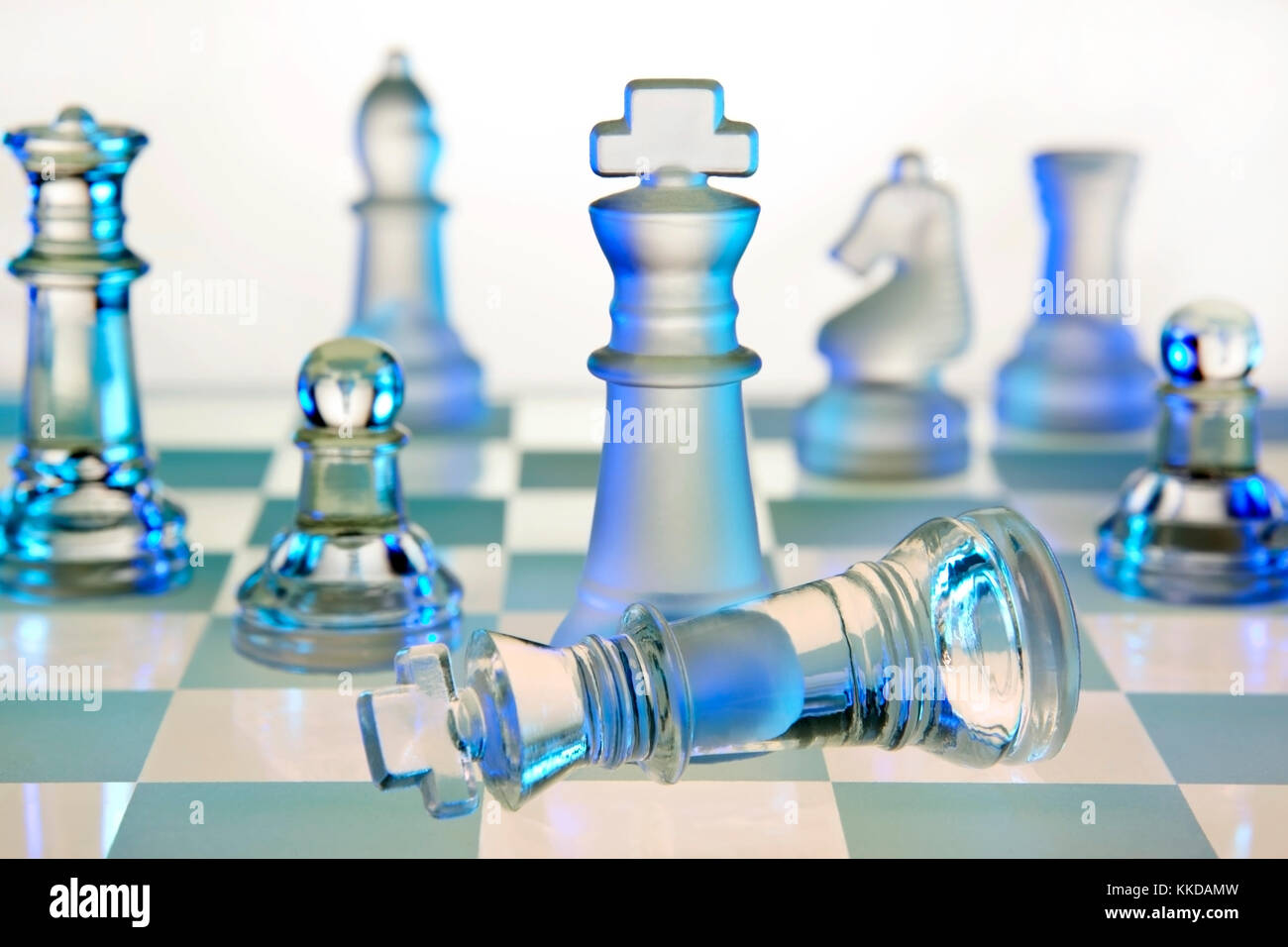 Chess - a board game of strategic skill for two players, played on a checkered board. Each player begins the game Stock Photo