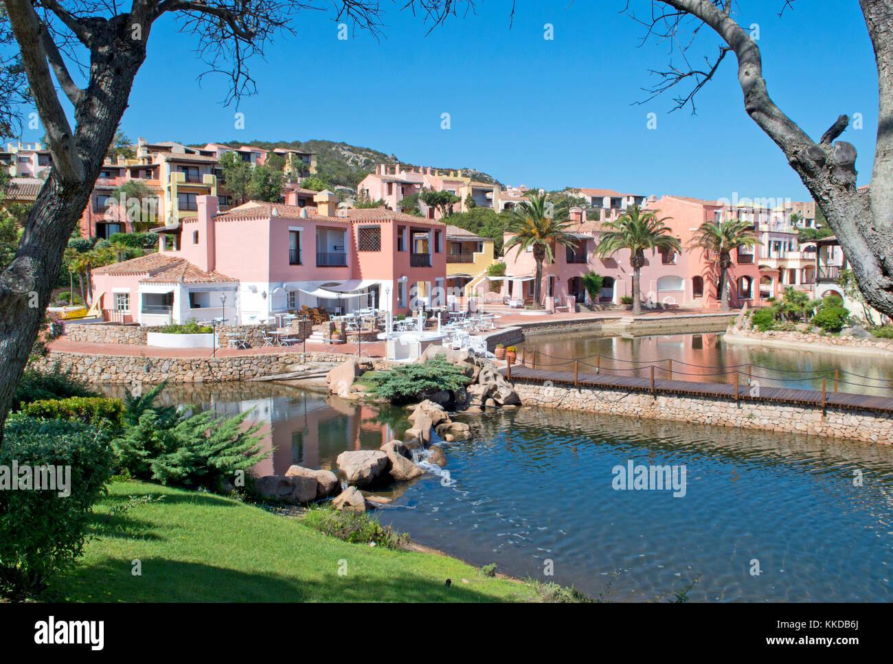 Villaggio Bagaglino suburb, Liscia di Vacca, Smeralda Coast, Sardinia, Italy - Stock Image