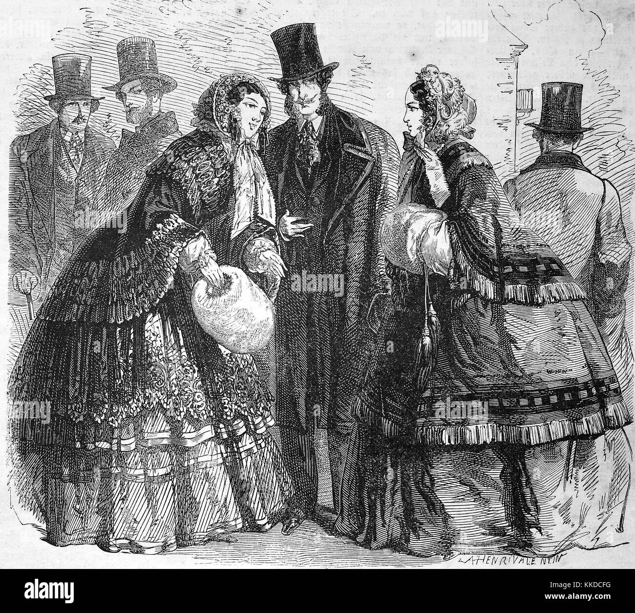 Pictures of the time of 1855. Winter fashion of high society in the middle of the 19th century, Digital improved - Stock Image