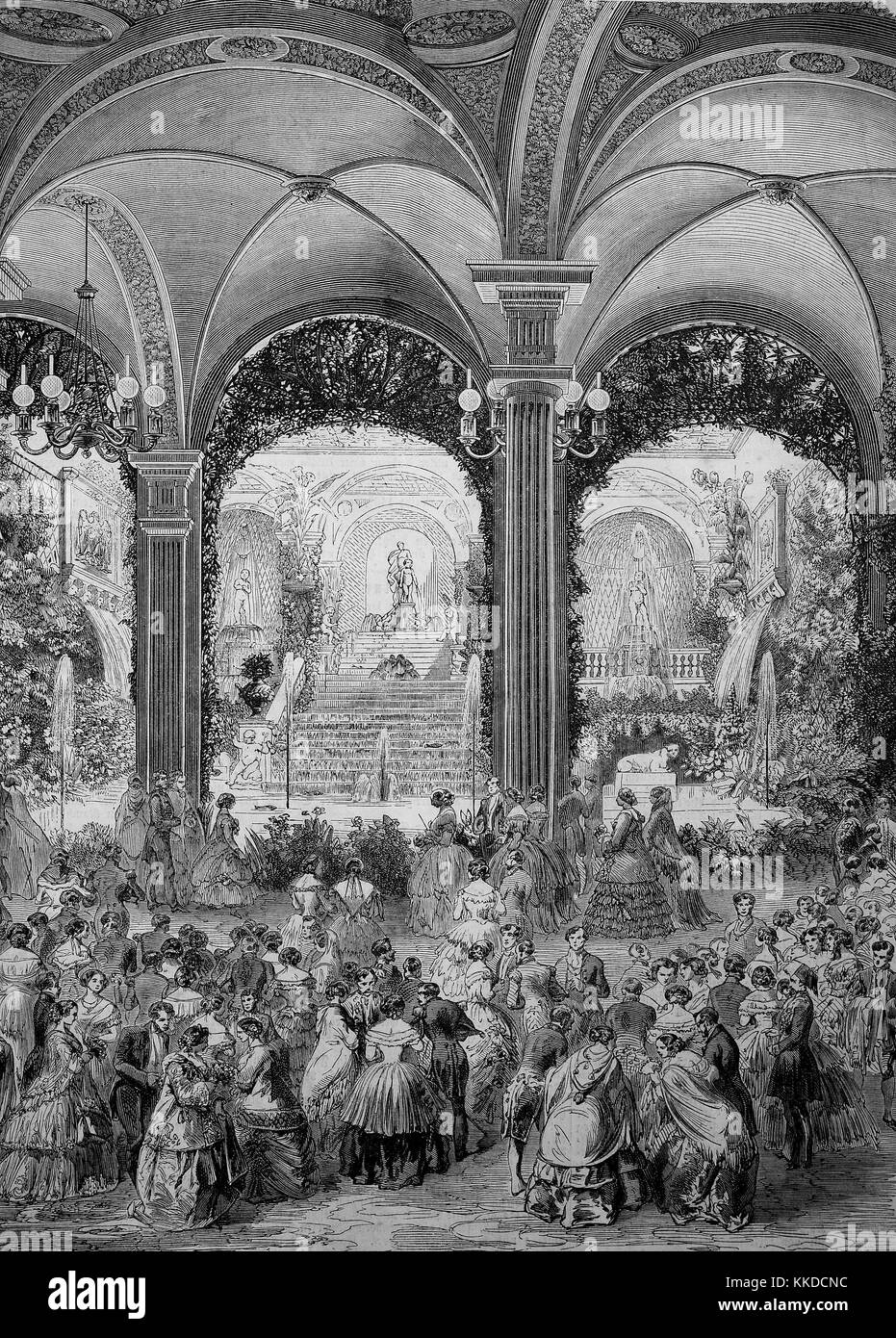 Pictures of the time of 1855, the high society at a ball in the city hall in Paris on February 17, 1855, Digital - Stock Image
