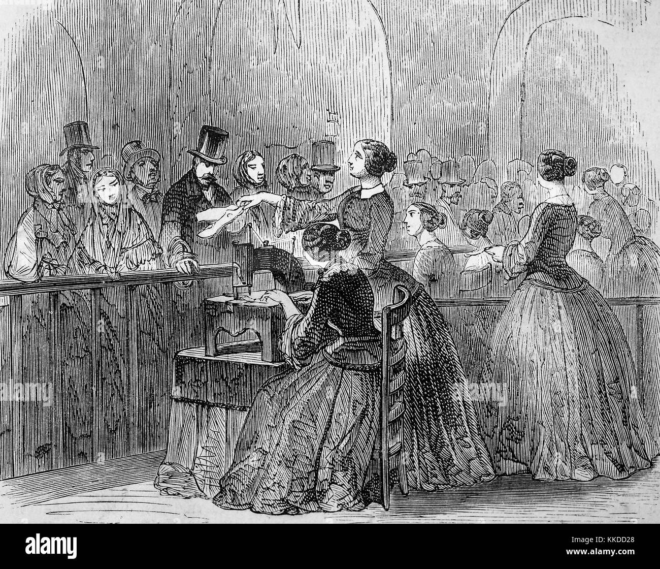 One woman sews on the sewing machine, another serves the waiting customers, pictures of the time of 1855, Digital - Stock Image