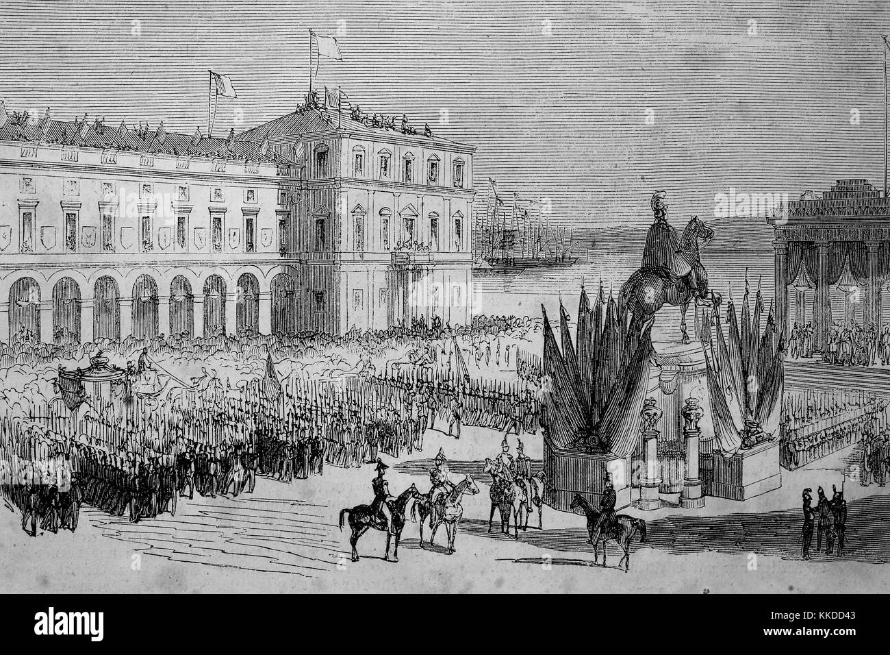 Homage of the King of Portugal on the main square of Lisbon, Dom Ferdinand II, Fernando II, 1816 - 1885, a German - Stock Image