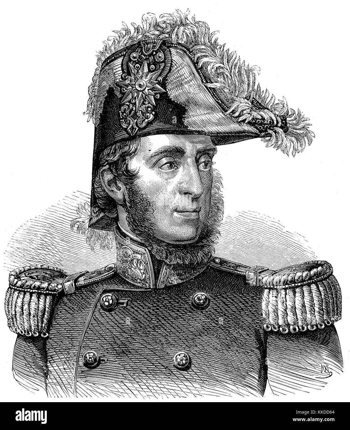 Guglielmo Pepe, 13 February 1783 - 8 August 1855, was an Italian general and patriot, pictures of the time of 1855, Stock Photo