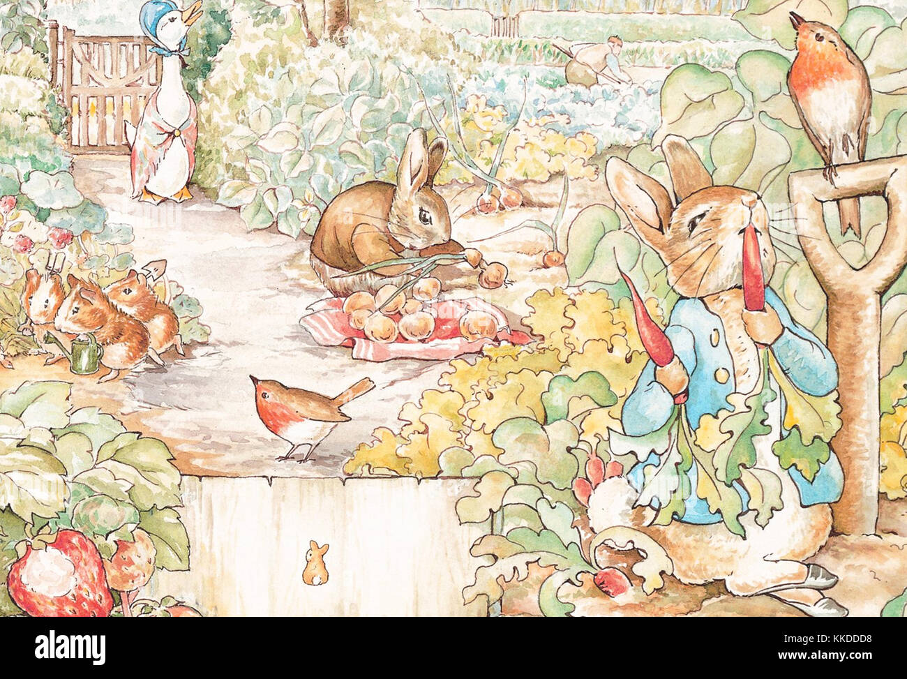 a vintage Beatrix Potter animal illustration - Stock Image