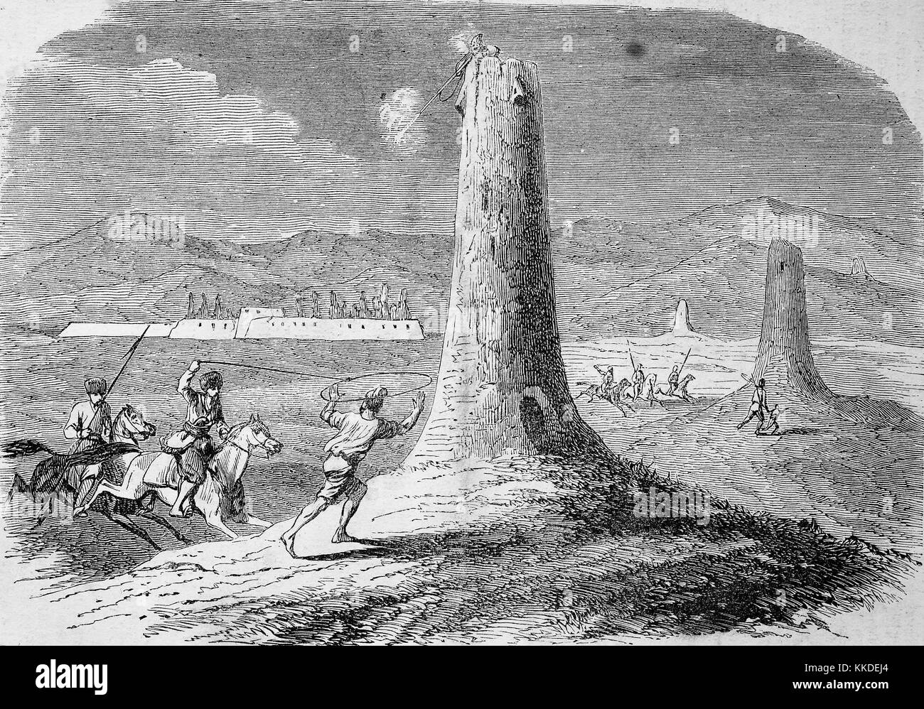 Persecution of the Persians by the Turkomans, pictures of the time of 1855, Digital improved reproduction of an - Stock Image