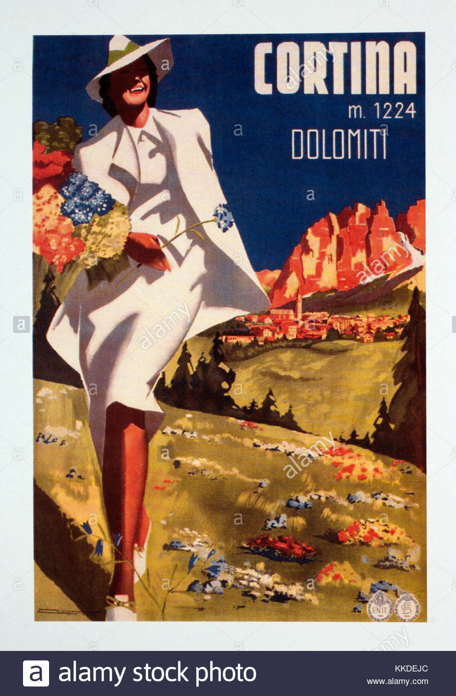 Vintage travel poster advertising Cortina in the Dolomites - Stock Image