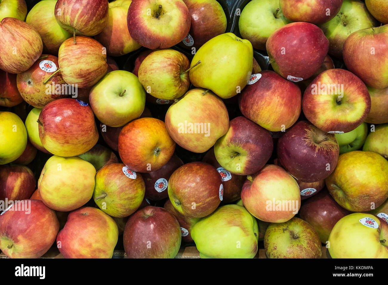 Assorted English apples on display. - Stock Image