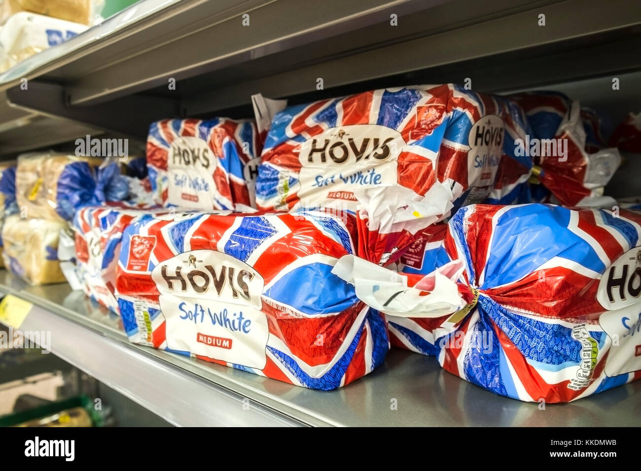 Loaves of Hovis Soft White bread wrapped in Union Flag Union Jack colours. - Stock Image