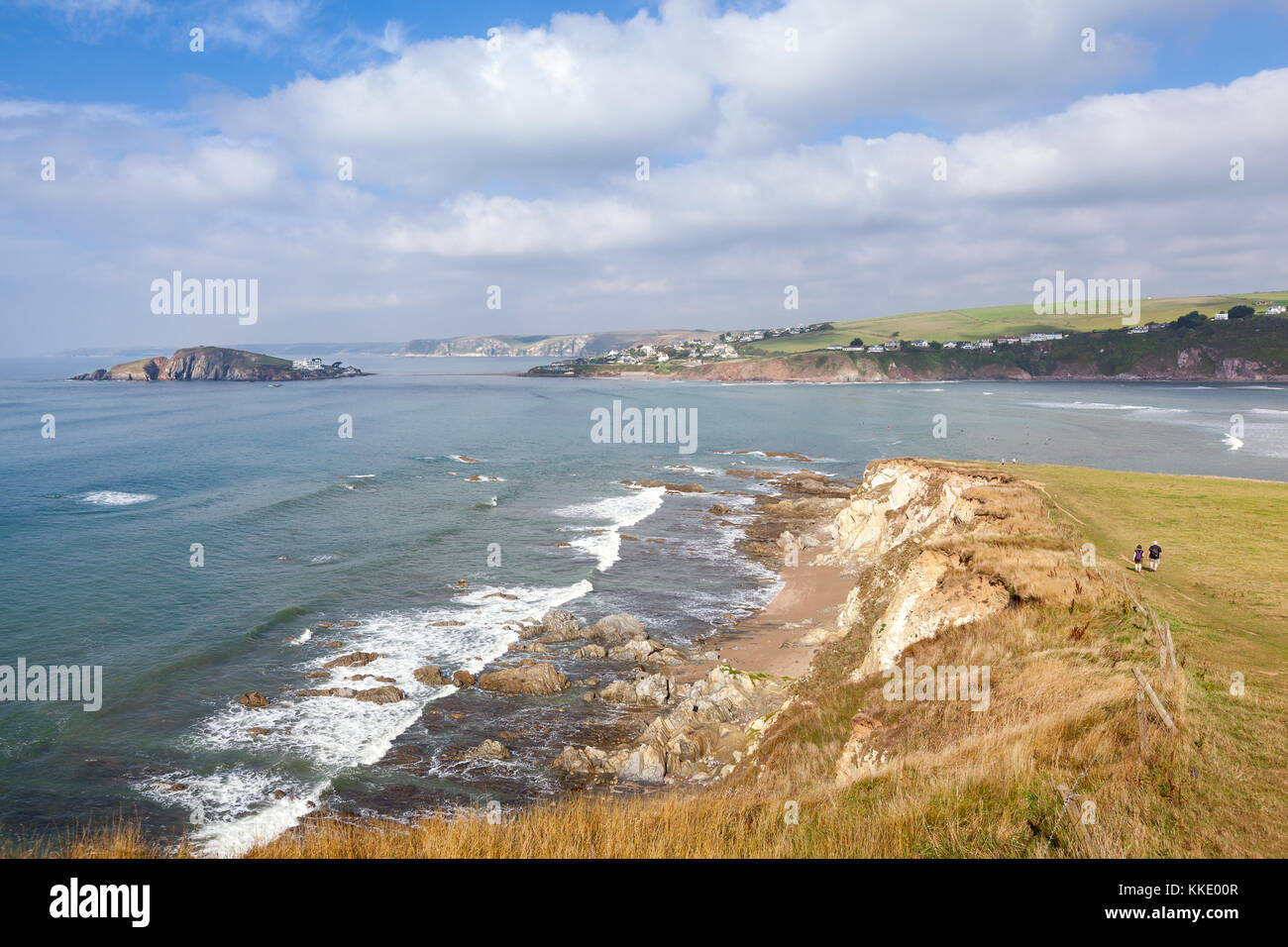 View across the mouth of the River Avon from Bantham to Bigbury-on-Sea and Burgh Island in South Devon, UK - Stock Image